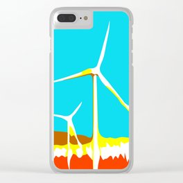 wind turbine in the desert with blue sky Clear iPhone Case