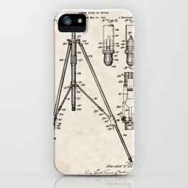 Camera Stand or Tripod Vintage Patent Hand Drawing iPhone Case