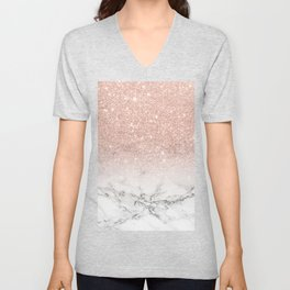 Modern faux rose gold pink glitter ombre white marble Unisex V-Neck