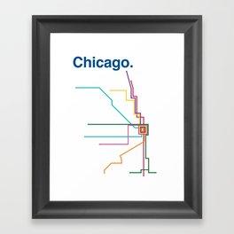Chicago Transit Map Framed Art Print