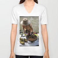 thailand V-neck T-shirts featuring woman in thailand by habish