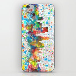 indianapolis city skyline watercolor 6 iPhone Skin
