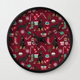 Doberman Pinscher christmas holiday pet pattern dog portrait dog breeds Wall Clock