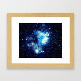 Galaxy NEbula. Teal Turquoise Blue Aqua Framed Art Print