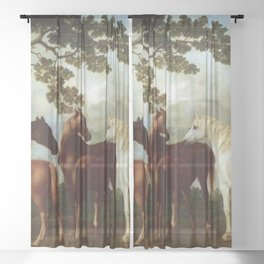 Classical Masterpiece Circa 1762 Mares and Foals in a River Landscape by George Stubbs Sheer Curtain