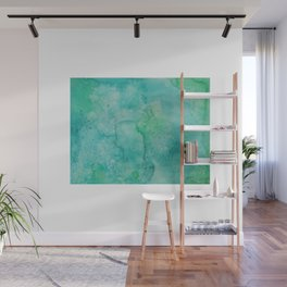 Blue Green Watercolor Wall Mural