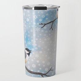 chickadees in snow Travel Mug