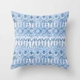 Tribal Owl Feathers in Delft Blue Throw Pillow