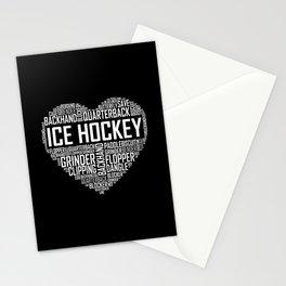 Love Ice Hockey Heart Stationery Cards