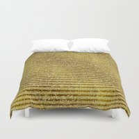 gold glitter Duvet Covers featuring Gold Glitter Stripes  by Zen and Chic