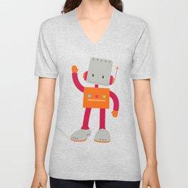 Cute Robot, Smiling Robot, Colorful Robot Unisex V-Neck