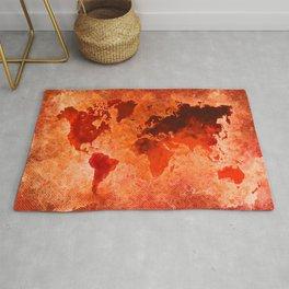 world map inferno #map #world Rug