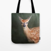 fawn Tote Bags featuring Fawn by Jai Johnson