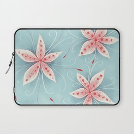 Beautiful Abstract Flowers In Red And White Laptop Sleeve