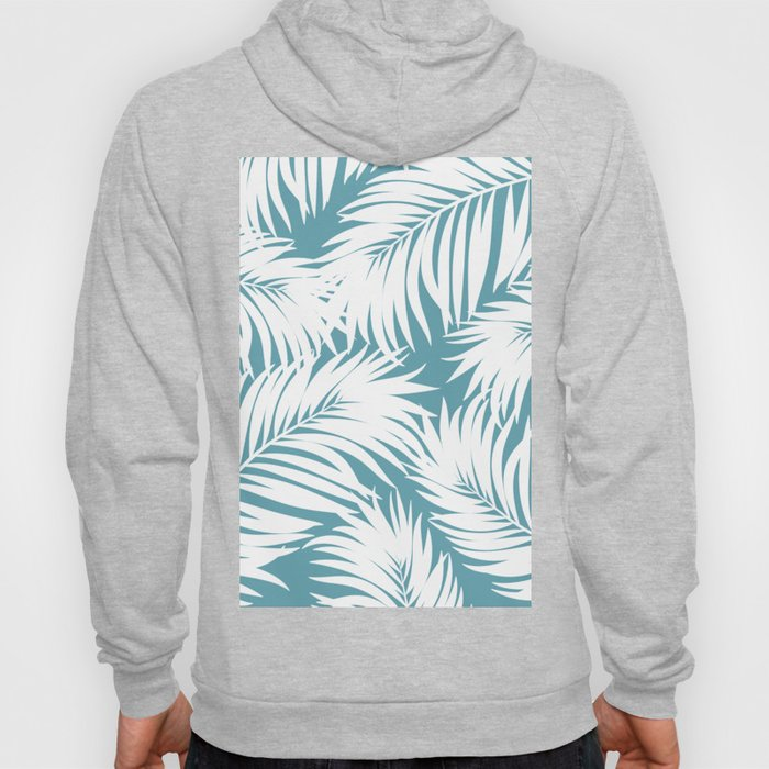 Palm Tree Fronds White on Soft Blue Hawaii Tropical Décor Hoody