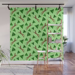 Gorgeous wild jumping cheetahs and green abstract geometric triangle shapes. Stylish classy elegant  Wall Mural