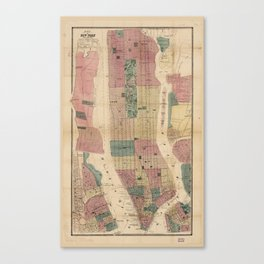 Map of New York and Vicinity (1867) Canvas Print