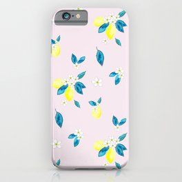 Watercolor Lemons Neck Gaiter Pink Watercolor Lemons Neck Gator iPhone Case