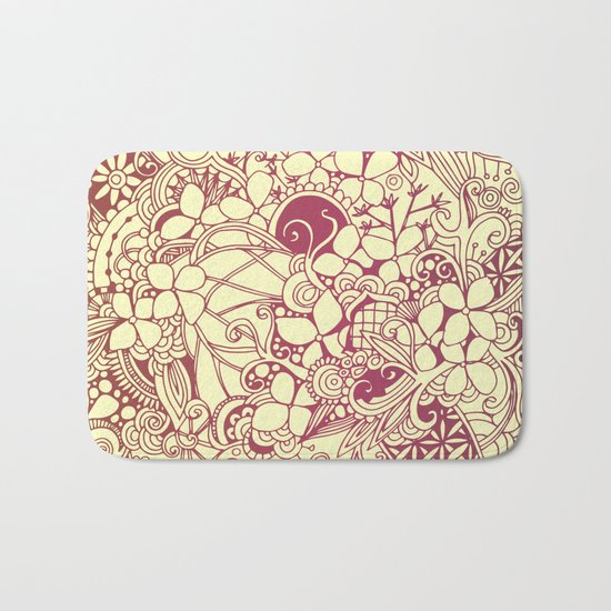 Yellow square, pink floral doodle, zentangle inspired art pattern Bath Mat