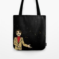carl sagan Tote Bags featuring Carl Sagan by Snarkasmic