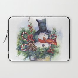 Watercolor Christmas snowman winter New Year decor Laptop Sleeve
