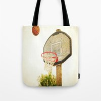 basketball Tote Bags featuring Basketball by KimberosePhotography