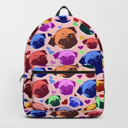 Pug Puppy Dog Love Hearts Pattern Backpack