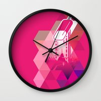 popsicle Wall Clocks featuring Raspberry Popsicle by Spires