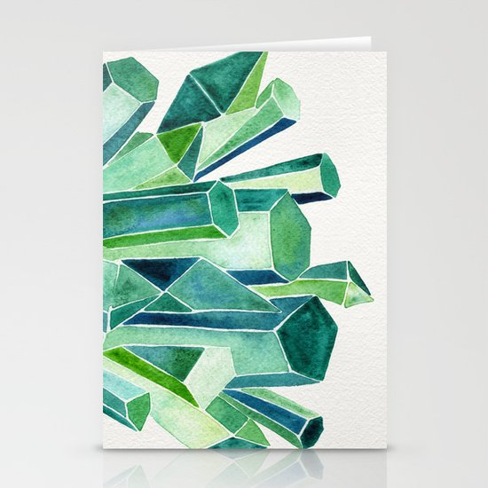 Emerald Watercolor Stationery Cards