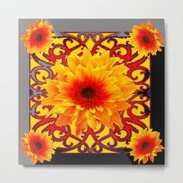 Grey-Black Stylized Red Sunflowers Pattern Art Metal Print