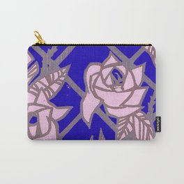 Royal Blue Rose Trellis Carry-All Pouch