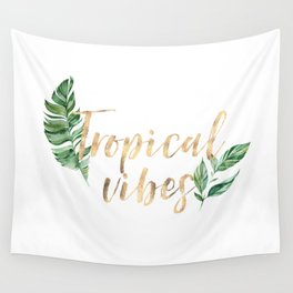 Green Leaves Tropical Vibes Wall Tapestry