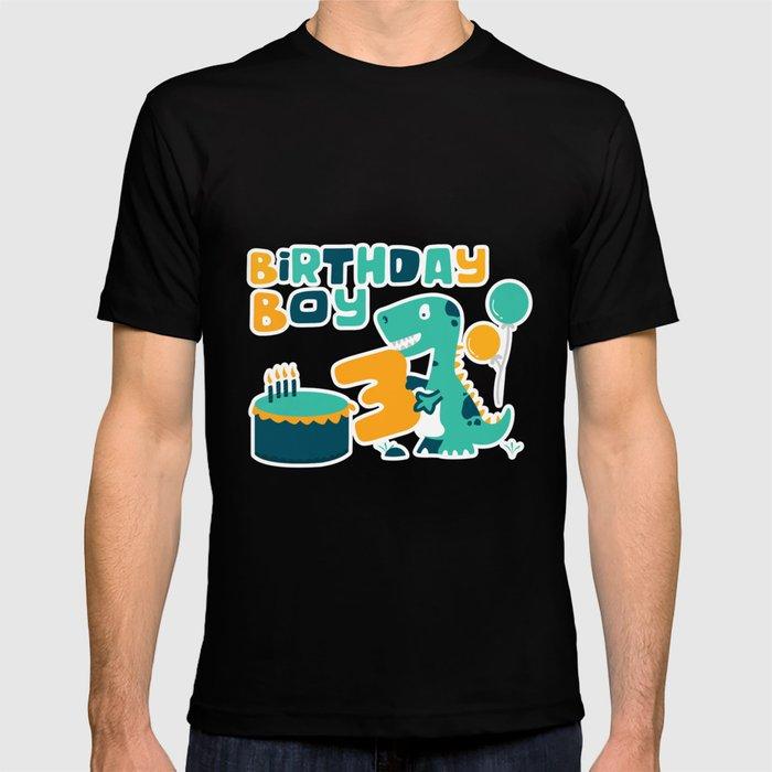 3rd Birthday Boy Dinosaur Party T Shirt