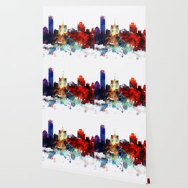Colorful Milwaukee watercolor skyline Wallpaper