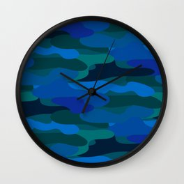 Camo-licious Collection: Blue Hawaiian Camouflage Pattern Wall Clock