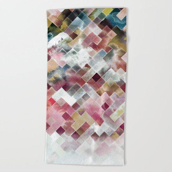 Moody watercolor patchwork Beach Towel