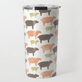 Pink Brown and Green Natural Color Sheep Travel Mug
