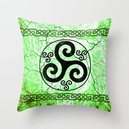 Black Irish Triskelion Throw Pillow