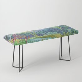 Jungle Paradise Watercolor Bench