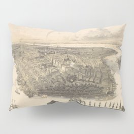 Vintage Pictorial Map of New York City (1855) Pillow Sham