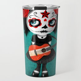 Day of the Dead Girl Playing Austrian Flag Guitar Travel Mug