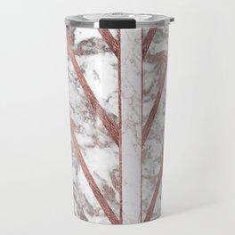Modern faux rose gold white geometrical marble stripes Travel Mug