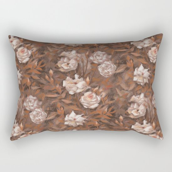 """""""White roses"""" hand drawn vintage floral pattern in earth colors Rectangular Pillow"""
