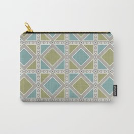Moss Green and Teal Pattern Carry-All Pouch