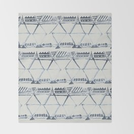 Simply Tribal Shibori in Indigo Blue on Lunar Gray Throw Blanket