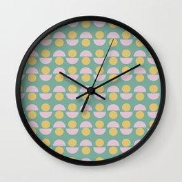 Scandinavian Geometric Pattern in Green, Lavender and Yellow Wall Clock