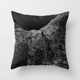 Cleveland map Ohio Throw Pillow