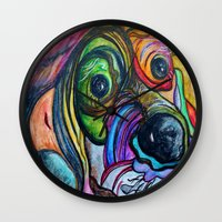 the hound Wall Clocks featuring Hound Dog by EloiseArt