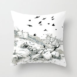 Aly and the Crows Throw Pillow