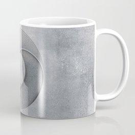 Geometrical Line Art Circle Distressed Shiny Blue Grey Coffee Mug